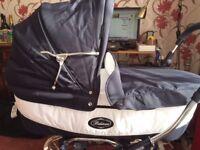 Bebecar Grand Style Classic Chrome Pram (Oxford Blue) £175