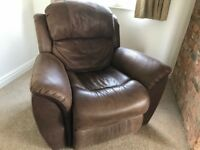 Chocolate Brown Leather Electric Recliner Armchair