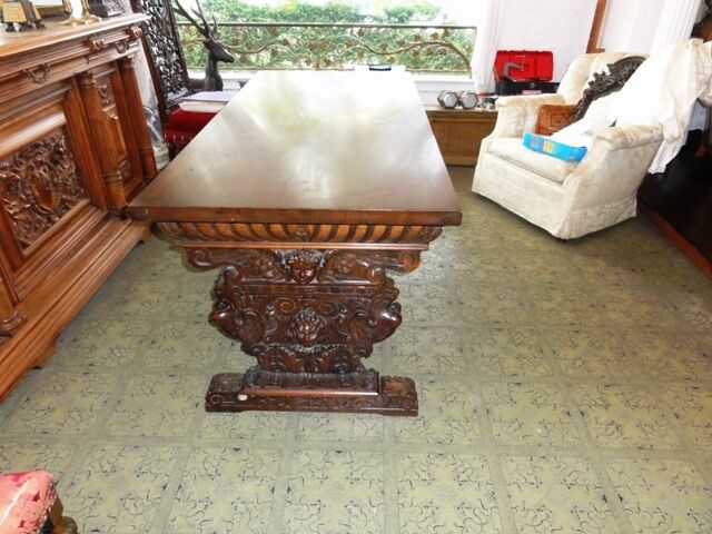 Antique 19th cen Heavily Carved Walnut Renaissance table/desk with Drawers