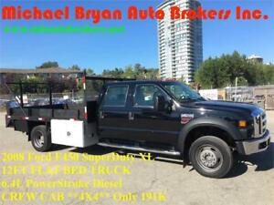 2008 FORD F450 **4X4** 12FT FLAT BED TRUCK *CREW CAB* RARE