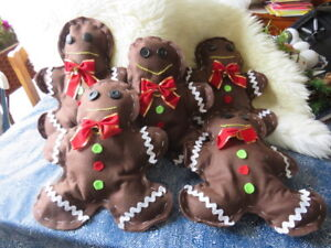 Handmade and decorated felt gingerbread men decorations for sale
