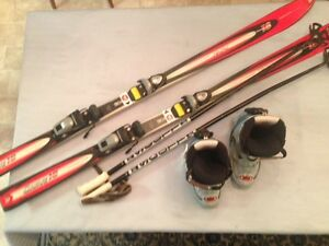 Skis, boots, bindings and poles