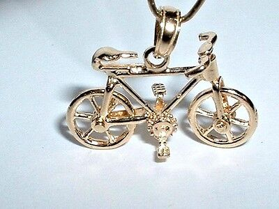 14K YELLOW GOLD 3D MOVEABLE BICYCLE BIKE PENDANT CHARM