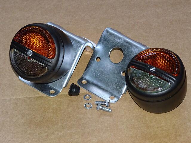 2x Positionsleuchte Blinker + 2x Halterung für auf Traktor Schlepper Kotflügel  Foto 1