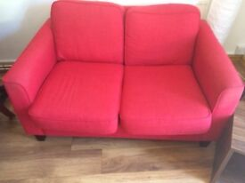 Sofa - red fabric 2-3 seater