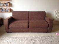 Sofa Bed in Brown Corduroy, two seater in excellent condition with Lampolet bed mechanism