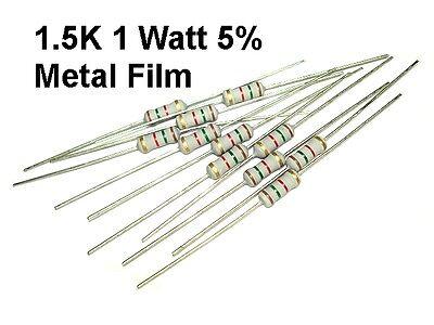 10 Pack 1.5k 1500 Ohm 1 Watt 5 Koa Metal Film Resistors New