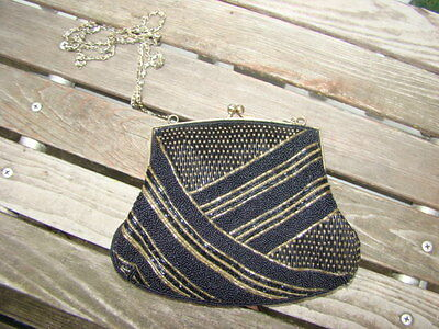 1920s Handbags, Purses, and Shopping Bag Styles VINTAGE 1920 ' S STYLE BLACK GOLD BEADED BEADS CHAIN SHOULDER BAG CLUTCH PURSE  $29.99 AT vintagedancer.com