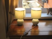 pair of table lamps new mint green