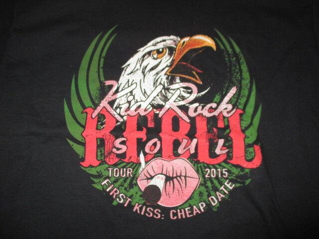 """2015 KID ROCK """"REBEL SOUL First Kiss: Cheap Date"""" Concert Tour (LG) T-Shirt"""