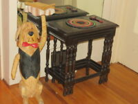 Wooden Carved Waiter Dog Table