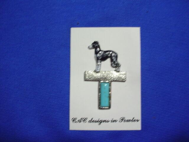 IG Italian Greyhound Painted Pewter Turquoise b CAC Hound Dog Jewelry Sighthound