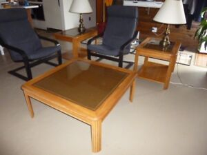 Medium Oak Coffee Table and End Tables with glass tops