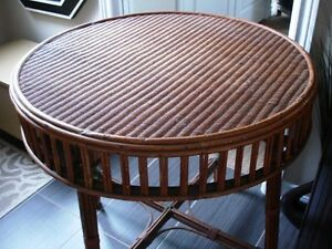 "late 1800s-early 19 Victorian 30"" PARLOUR TABLE Wicker Seagrass"