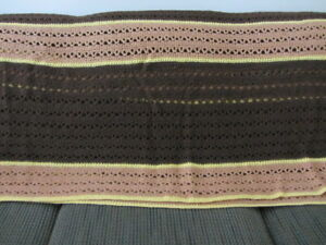 "Hand-Made Crocheted Brown Stripped Afghan 82"" x 40"""