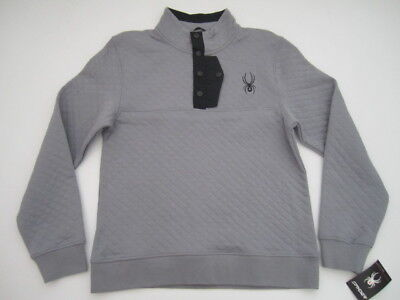 Mens Medium Spyder Steel T Snap quilted gray pullover sweater sweatshirt NWT