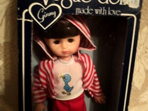 """8"""" GINNY 1980s VOGUE DOLL,RED PLAYFUL OUTFIT,BLUE BOX #1241b"""
