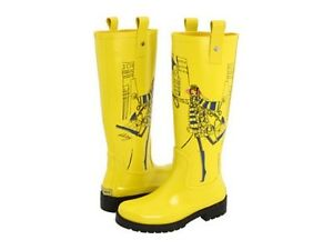 DKNY NIAGRA ICONIC FUNKY YELLOW PERFECT LOGO TALL RUBBER RAIN ...