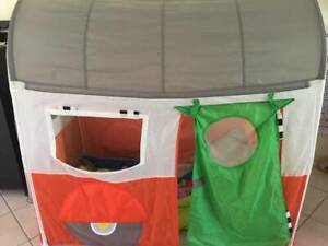 Ikea children play tent and vTech toot toot drivers train