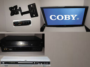 "19"" Barely used COBY TV WITH easy wall mounting arm +DVD+ VCR"
