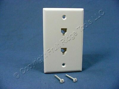 New Leviton White DUAL Phone Jack Wall Plate 6P4C 625B3 Duplex Telephone 40944-W