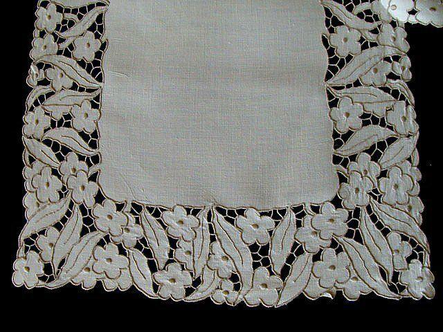 "GORGEOUS Vtg MADEIRA Linen Runner 32"" Hand Embroidered Cutwork PRISTINE"