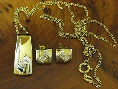 8kt 333 Gelbgold Kette, Anhänger & Ohrstecker mit Diamant Besatz / 3,6g / 44,5cm