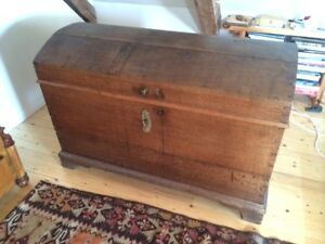 Antique german oak wedding chest