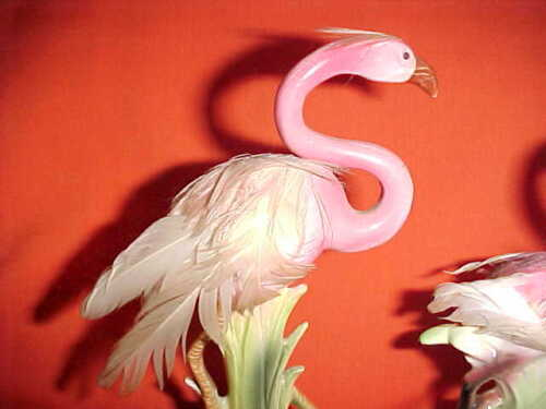 Beautiful Pink Flamingo with Real  Feathers Ornament Figurine