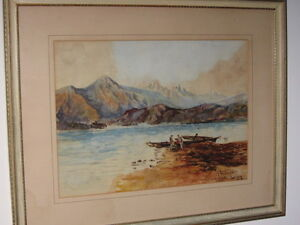 """Canoes on Mountain Lake in BC"" by Thomas Mower Martin"