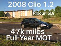 47k miles! £1585 2008 Renault Clio 1.2l* like fiesta clio yaris micra corsa c1 aygo 107 getz polo,