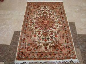 FRENCH TATSE PESTAL FLOWERS ORIENT HAND KNOTTED RUG WOOL SILK CA