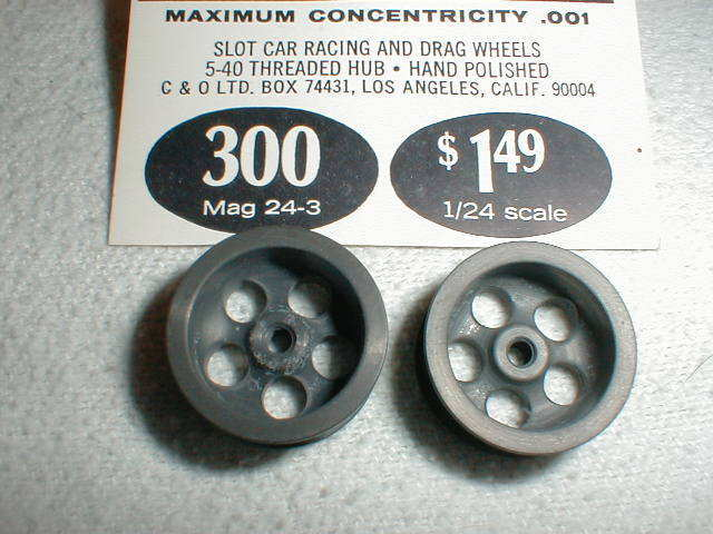 Mila Miglia Slot Car Deep 5 Hole Magnesium Wheels 1960s Vintage NOS 1/24 300
