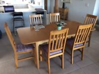 Light Oak Extendable Dining Table & 6 Chairs