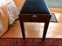 Piano Stool adjustable wth blue velvet seat