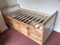 *Reduced Price* Wooden Single Mid Sleeper Cabin Bed with Shelves and Draws