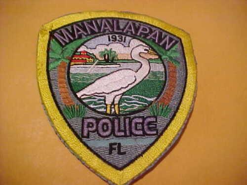 MANALAPAW FLORIDA POLICE PATCH SHOULDER SIZE UNUSED NO EDGE