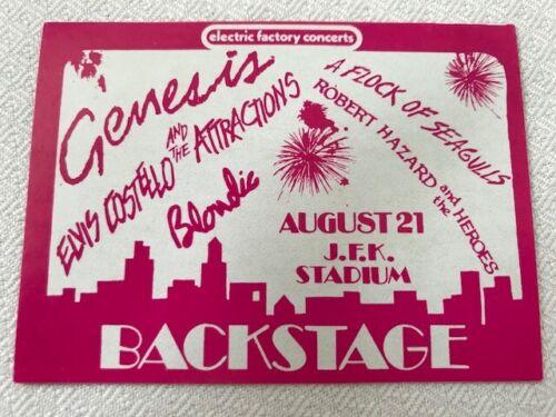 Genesis -Elvis Costello -Blondie -backstage pass-JFK Stadium-PHL-8/21/1982