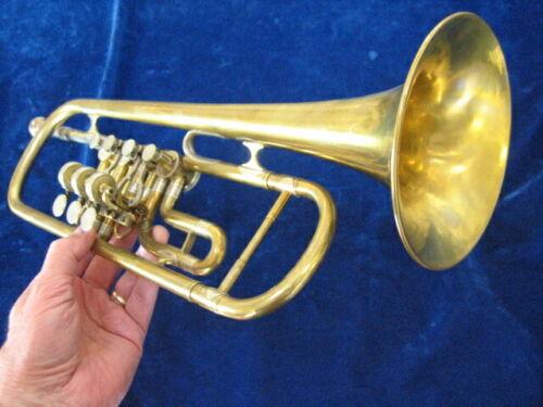 Rare Rotary Valve Trumpet in B-flat by Matthaus Bauer/Instru. Fabrik/Wein
