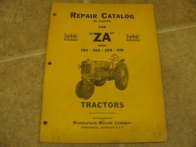 Minneapolis Moline Za Zau Zas Zan Zae Tractor Repair Parts Catalog Manual Mm