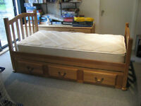 Single Bed & Mattress (Solid Wood)