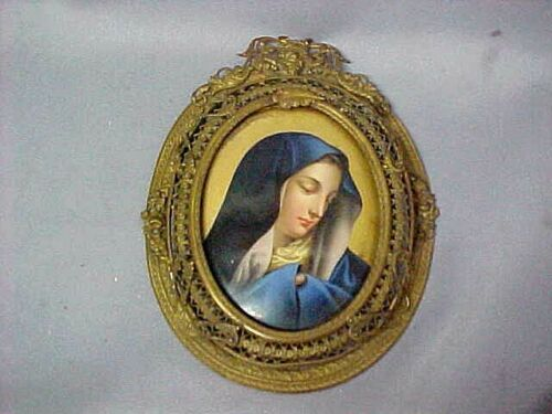 MADONNA IN BLUE ~ Antique porcelain oval plaque jewelry Pin or Wall decor vgc FS