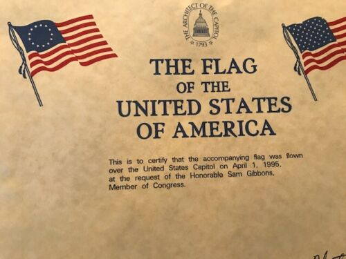 United States Flag - Flown Over the US Capitol with Certificate