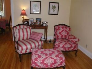BEAUTIFUL CLASSIC CHAIRS AND OTTOMAN