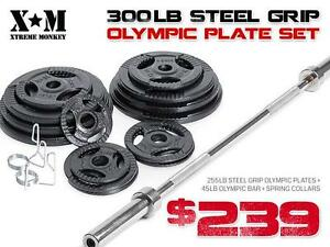 Olympic Weight Plates - 300 lb STEEL Grip SET