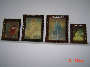set of 4 famous pictures in antique frames