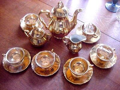 Rudolf Wachter Demi Tasse Bavaria coffee tea set, Gold over white  signed R W