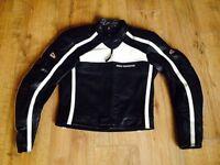 Hein Gericke black leather motorbike jacket - womens UK size 10