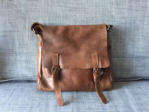 Sac d'épaule roots en cuir H/F - M/W Leather Messenger Bag Roots