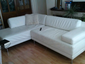 White leather modular corner habitat sofa scala